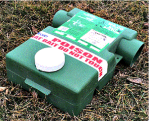 Dry bait stations. Modern bait stations have baffles and secured entrances built in.