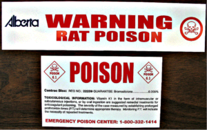 Poison Labels at all bait sites.